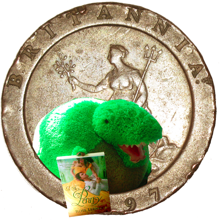 t-rex leaning out of an old penny to offer you the book