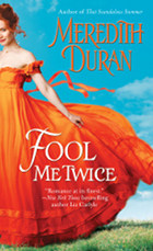 cover of fool me twice, a billowing orange gown and bright blue sky