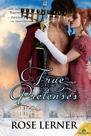 cover of True Pretenses photoshopped so Lydia is holding a menorah
